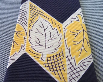 40s Vintage Wide Neck Tie Bold Zig Zag Black Purple Gold Leaves