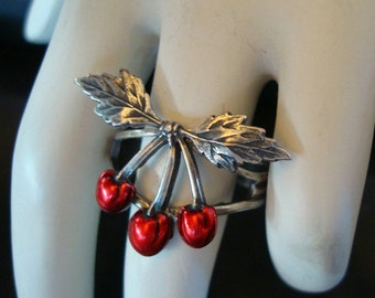 Like A Virgin, Virgin Cherry Ring, Never Been Picked, Custom Handmade Jewelry, USA, Sterling Silver Finish, Adjustable Ring Base, Purity