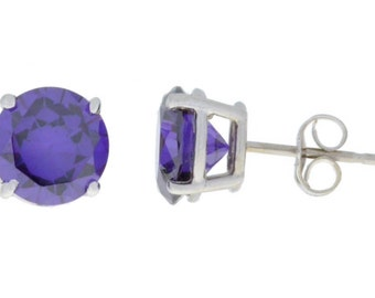 Alexandrite Round Stud Earrings .925 Sterling Silver Rhodium Finish