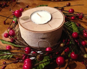 Real Tree Tealight Holders with Decoration