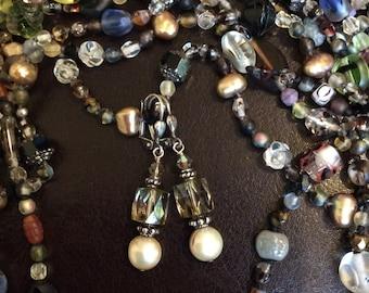 Handmade Earrings with Freshwater Pearl and Crystal Beads, Dangle Earrings