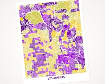 Los Angeles Map Print. Choose Your Colors. Perfect for your UCLA Bruin or your LA Lakers fan.  California Art.