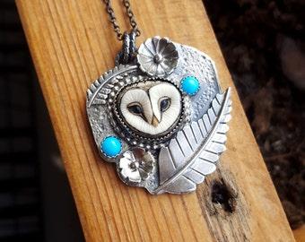 Owl necklace - owl jewellery - turquoise - sleeping beauty turquoise