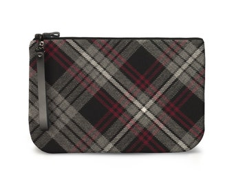 Auld Lang Syne Tartan Clutch Bag / Pouch - Plaid iPad Cover / Case - 100% Wool & Leather - Handmade in Scotland