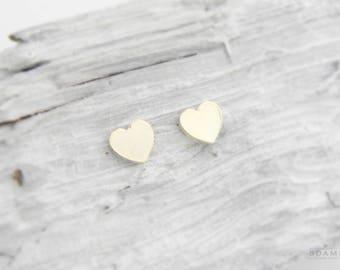 Gold studs Hearts, plain heart stud earrings solid gold, heart studs gold, rose gold hearts studs