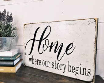 Home Where Our Story Begins Rustic Wood Sign