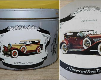 Vintage Duesenberg Cookie Metal Tin Classic Era Cars  Mercedes Tin 1930s Classic Car Tin Box