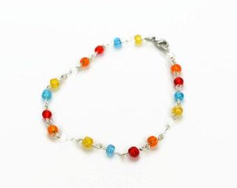 Seed Bead Bracelet, Delicate Beaded Bracelet, Colourful Bracelet