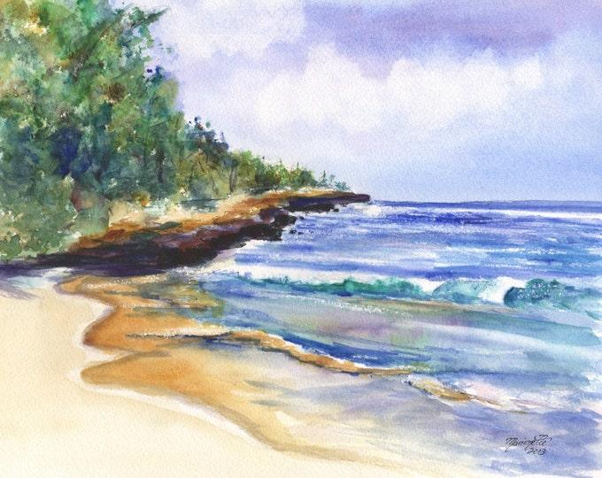 Beach art, 8x10 prints, Kauai beaches, Kauai painting, Mahaulepu Beach, Kauai South Shore, Kauai Art, Hawaii Art, Tropical Beach, Ocean Art