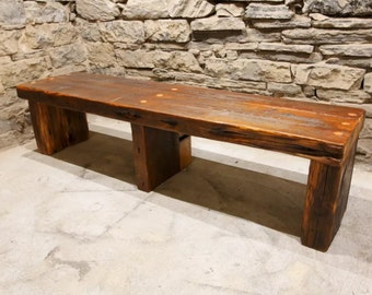 The Empire - Massive Timber and Slab Reclaimed Wood Modern Style Entryway Bench