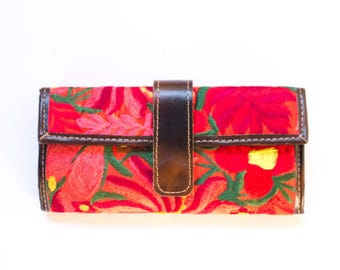 SBV Guatemalan Leather Wallet with Colorful Hand-stitched Detail