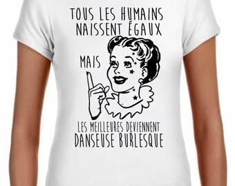 t-shirt women burlesque dancer, 100% combed 145gsm, classic cut, white