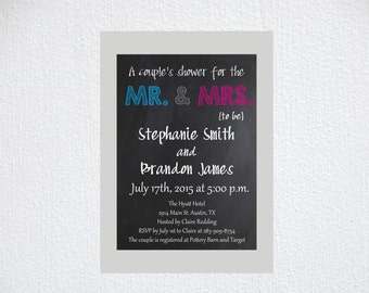 Custom Couple printed Wedding Shower Invitations, save the date, invitations, custom