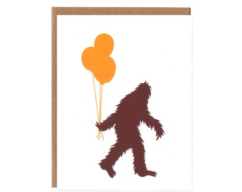 Sasquatch and Balloons -- Screenprinted Birthday Card