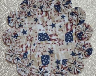 """Vintage Style USA Flag 8.5"""" Yo Yo Doily"""