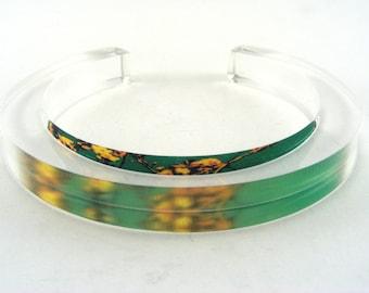 Green Blossom Bangle Cuff, Slim acrylic accessory