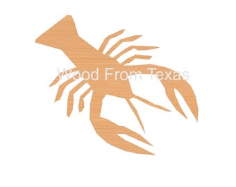 """Crawfish Cutout * Wood Shapes * Ornaments * Craft Supplies  * DIY * Size 4"""" to 48"""" * Material Size .25"""".5"""" or .75"""" * Painted or Not * 10-005"""