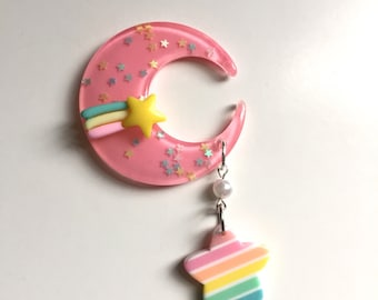 Fairy Kei Confetti Moon with Shooting Star Dangle Hair Clip (pink)