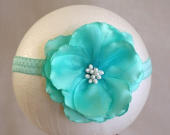 Satin Green Flower Headband with Tulle