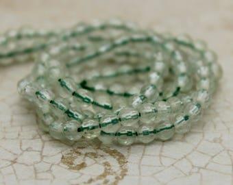 Prehnite Faceted Round Transparent Natural Gemstone Beads (3mm)