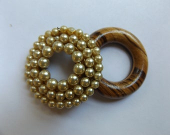 Two Vintage Round Brooches Pins - Wood & Faux Pearl Circle
