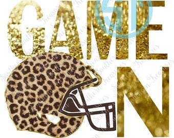 Leopard and Gold Glitter Football Game On Sublimation Heat Transfer Pre Made DIY Iron On Personalized HTV Vinyl You Choose