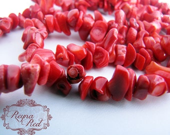 Crimson Dyed Coral Chip Beads, red coral, coral chips, coral chip beads, red coral beads, beads, jewelry making, coral- reynaredsupplies