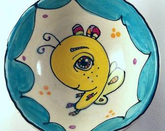 "Fly, fly away- ceramic bowl approximately 5""x2"""