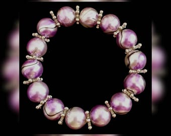 Comfortable marbled purple Stretch Bracelet