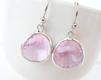 Clear Pink Glass Earrings Silver Pink Bridesmaids Earrings Silver Blush Drop Earrings Pink and Silver Earrings Pink bridesmaids Earrings