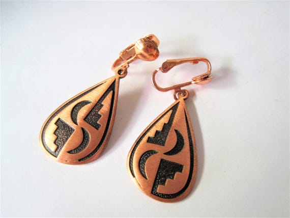 Solid Copper Earrings, Wheeler Native American, Signed Solid Copper Earrings