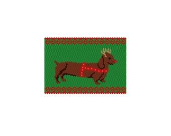 Christmas Weenie Panel 1 Peyote/Brick PDF pattern