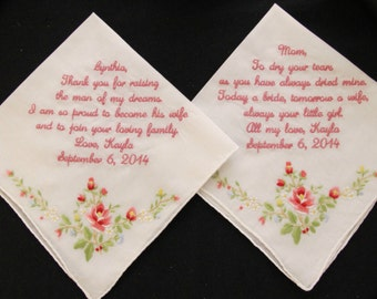 Mother of the Bride and Mother of the Groom Embroidered Wedding Handkerchiefs