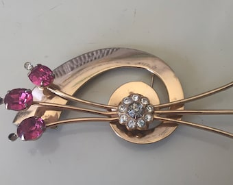 Coro Brooch Signed Sold as is Missing two small rhinestones