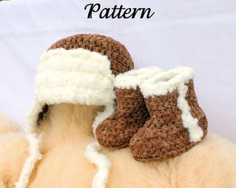 Baby aviator hat and boots PDF crochet PATTERN 0-3 months brown white newborn infant booties flying beanie pilot headwear photography prop
