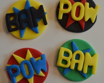 12 Superhero Expression Cupcake Toppers-Fondant