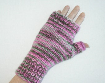 Pink and Green Mitts / Acrylic Fingerless Gloves