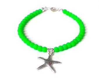 Starfish Bracelet, Neon Green Bracelet, Green Bead Bracelet, Starfish Charm Jewelry, UK Seller