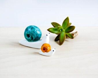 Snail miniature totems x2, ceramic animals, Ceramics & Pottery, Snails figurine, Snail miniature totem, Dolls and miniatures, Tiny snails