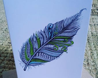 Zentangle Feather Greetings Card