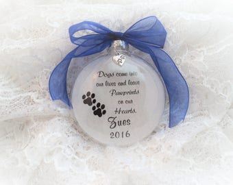 Pet Dog Memorial Christmas Ornament, Dogs Come Into Our Lives, Free Personalization and charm