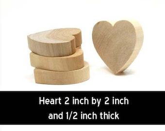 Unfinished Wood Heart - 2 inches by 2 inches and  1/2 inch thick wooden shape (WW-WH2050)