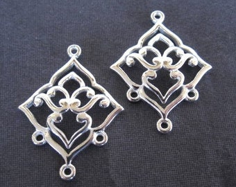 4 pair reserved for DEAF - Lotus Girl Chandelier Links - Solid sterling silver findings - for earrings - 26mm X 20mm