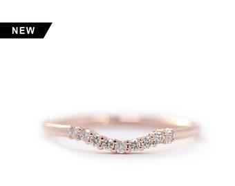 Diamond Matching Wedding Band, 14k Rose Gold Cluster Wedding Ring, Diamond Crown Ring, Curved Wedding Diamond Ring