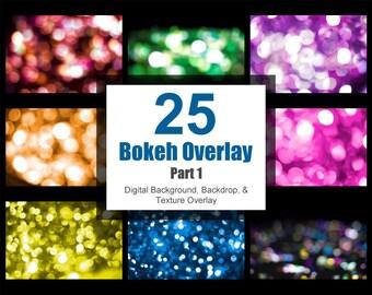 Bokeh Overlay Part 1, Digital Background Backdrop, Scrapbook Paper, Photoshop Texture
