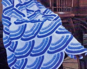 Afghan Crochet Pattern, Clamshell Crochet Afghan Pattern, Motif Crochet for Coastal or Beach Decor, INSTANT Download Pattern PDF (1031)