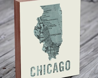 Chicago Map Wall Art - Chicago Gifts for Men - Chicago Map Print - Chicago Sign
