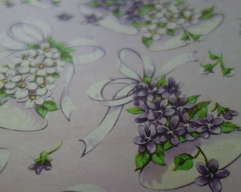 Vintage Wrapping Paper, Partial Sheet of Lavender Purple Gift Wrap with White Bells and Purple and White Violet Style Flowers and Ribbons