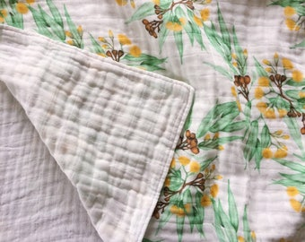 LAST ONE Newborn Organic Cotton Muslin Baby Wrap. Double Gauze. Swaddle Cloth. Certified Organic. Thistle and Fox Fabric. Ready to Ship