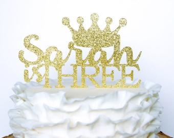 Birthday Crown Cake Topper, Personalized Tiara Cake Topper, First Birthday, Princess Cake Topper, Princess Birthday Decoration, Custom Name